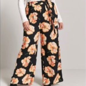 Forever 21 Orange Floral Palazzo Pants